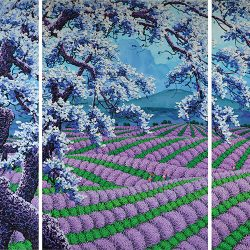 SOLD<br> Lavendar<br> 300 x 150 cm (3 panels)<br> Acrylic on Canvas<br> 2016