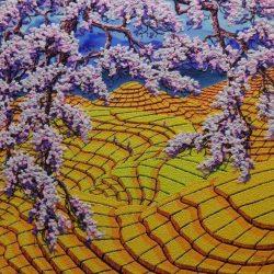 Cherry Blossom with Golden Field_Soe Soe_122x122cm_Acrylic on Canvas