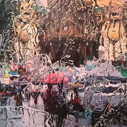 Bustling Street VII<br> 92 x 122 cm<br> Acrylic on Canvas<br> 2016
