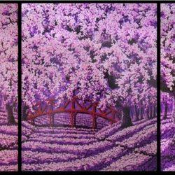Cherry Blossom-Bridge of Love_Soe Soe_450x150cm(3panels)_Acrylic on Canvas