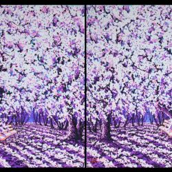 Cherry Blossom - Happy Moment <br> Acrylic on Canvas<br> 184 x 122 cm (diptych)<br> 2014