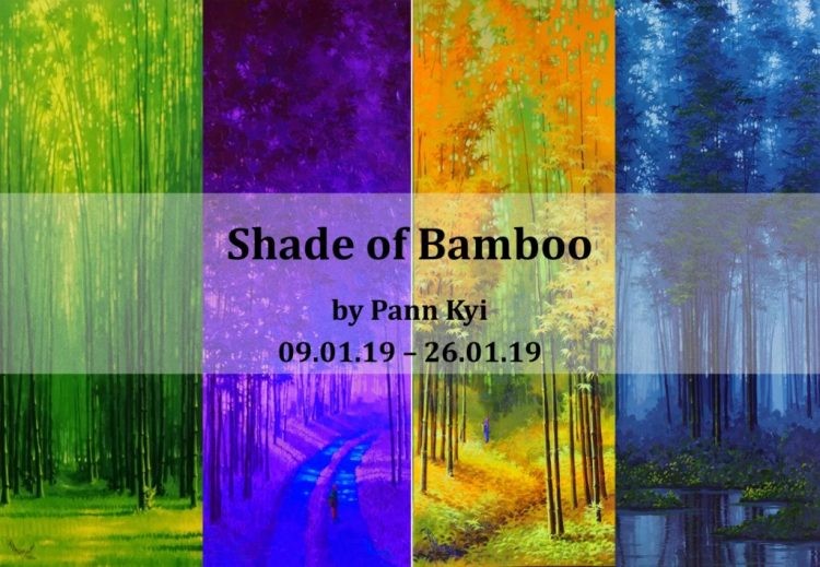 Bamboo, the four seasons evergreen like the youth resident. It's branches bend and do not fold, is firm but gentle just like the principle of being someone. Burmese artist Pann Kyi paint was enchanting bamboo artwork. His works shown the different time track in the bamboo forest and the whimsical moment. Using the unique shade, Pann Kyi catching the shadow between the sunlight thru the bamboo tree.