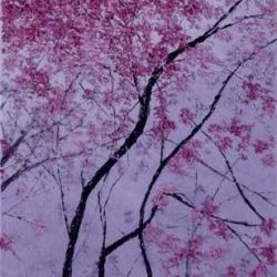 SOLD<br> Clear sky covered with cherry bomb III<br> Chen Li Wei<br> 39x77cm<br> Oil on Canvas<br> 2018