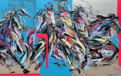 The Golden Age I <br> Mixed Media on Canvas<br> 200x120cm<br> 2015