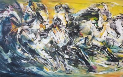 Challenging Horses 2_Lim Ah Cheng_91x172cm_2020
