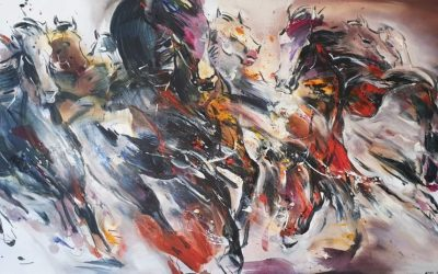 Challenging Horses 3<br> 91x172cm <br> Mixed Medium on Canvas<br> 2020