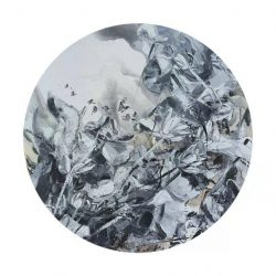 Untitled<br> 152cm diameter<br> Mixed Media on Canvas<br> 2020