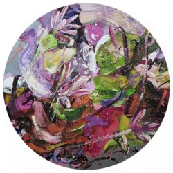 Untitled<br> 80cm diameter<br> Mixed Media on Canvas<br> 2020